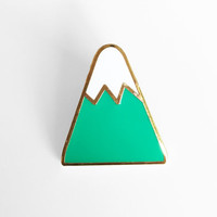 Mountain Enamel Pin - Sleepy Mountain Gold Pin