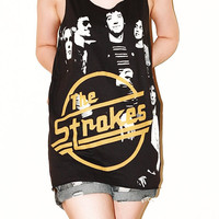 Julian Casablancas The Strokes Charcoal Black Women Top Clothing Rock Tee Tank Top Singlet Sleeveless Photo Indie Punk T-Shirt Size M
