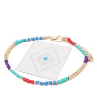 With Love From CA Flash Tattoo & Beaded Anklet Set - Womens Jewelry - Multi - NOSZ