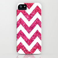 Pink Glitter Chevron iPhone & iPod Case by Pink Berry Pattern