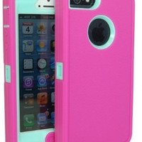 Iphone 5 Body Armor Case Hot Pink on Baby Blue Teal Comparable to Otterbox Defender Series + Bonus Cube Charger and Breast Cancer Awareness Silicone Bracelet