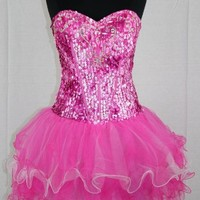 Zeilei S920 Corset Sequins Strapless Sweet 16 Cocktail Party Dress