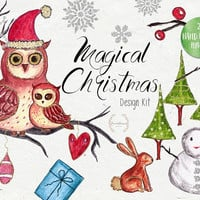 Magical Christmas | Hand Painted Clip art, instant download, PNG, Happy holidays, Christmas card, Happy Christmas, owl, Christmas tree
