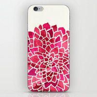 Beauty In Cream, Pink & Red iPhone & iPod Skin by TigaTiga Artworks