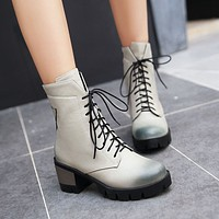 Ankle Boots for Women Thick Heels Lace Up Round Toe Motorcycle Boots Pu Leather Autumn Winter Shoes Woman 5138