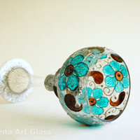 Hand Painted Glass Vase,Wedding Center Piece,Tea Light Candle Holder Turquoise Brown Silver
