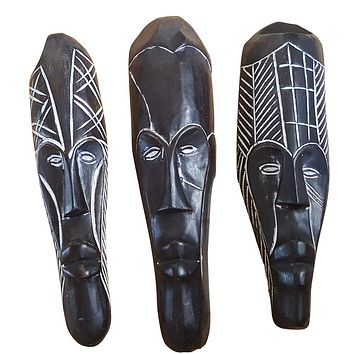 "Set of (3) Masks: 12"" - 13"" African Gabon Cameroon Wood Fang Mask in Black"