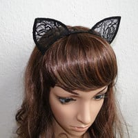 black rose lace cat ear hairband headband Alice In Wonderland Lolita Gaga