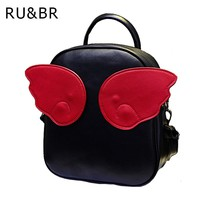 RU&BR Hot ! Women's Leather Backpack Angel Wings Hit Color Rucksack School Bag For Teenagers Girls Travel Shoulders Bag Mochila