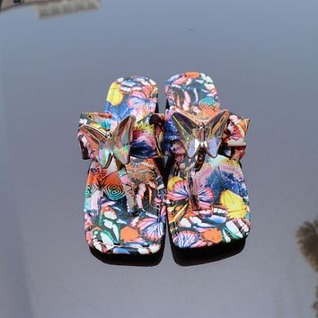 New large size women's shoes, casual satin bowknot one-step sandals and slippers