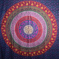 Multi-colored Mandala Tapestry Indian Wall Hanging, Bedsheet, Superior Quality Hippie Wall Tapestry or Bedspread in Organic Cotton Tree of Life 95 x 85 Inches