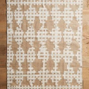 Pieced Lattice Rug by Anthropologie in Neutral Motif Size: