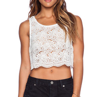 Show Me Your Mumu Savannah Scallop Crop Top in White