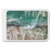 Shimmering Turquoise Ocean Waves and sand Power Bank