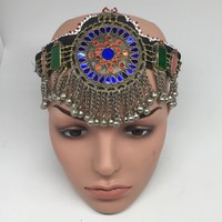 Kuchi Headdress Headpiece Afghan Ethnic Tribal Jingle Alpaca Bells Glass,CK648