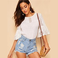 Boho White Keyhole Back Eyelet Embroidered Flounce Sleeve Top Blouse Women Round Neck Casual Solid Blouses