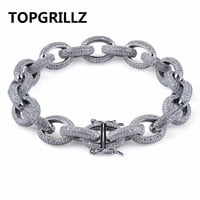 TOPGRILLZ Hip Hop Men Bracelet Copper Gold/Silver Color Plated Micro Paved CZ Stone Twisted and Oval Link Chain Bracelets