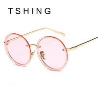TSHING 2017 New Women Fashion Clear Lens Steampunk Round Sunglasses Men Vintage Mirror Circle Rimless Sun Glasses Ladies Female