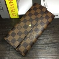 LV Buckle plaid Women Leather Purse Wallet H-MYJSY-BB