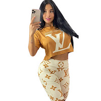 LV Women With short sleeves Top Pants shorts Two-Piece