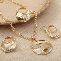 Trendy Design Golden Plated Chain Necklace Earring Rings Set For Women Crystal Pendant Accessory Alloy Festival Party Jewelry