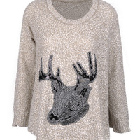 Paillette Elk Print Long Sleeve Knitted Pullover