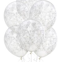 Clear & White Filigree Latex Balloons- Party City