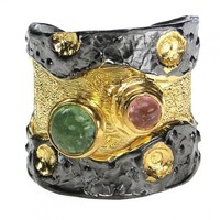 Polemis L36B - Sterling and Gold Plated Silver Ring with Stones