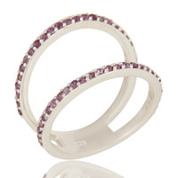 Natural Amethyst Gemstone 925 Sterling Silver Double Stacking Ring