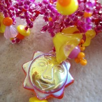 Tropical Pink Sunny and Bright Lacy Beaded Necklace