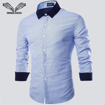 Men Shirt 2015 New Arrival Male Fashion Long Sleeve Striped Patchwork Casual Slim Fitness Business High Quality Dress Shirts N94