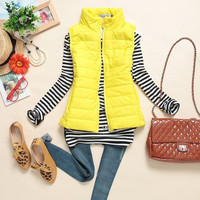 Stand Collar Sleeveless Zippered Winter Coat