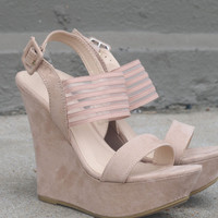 Saturday Bliss Nude Strappy Wedges