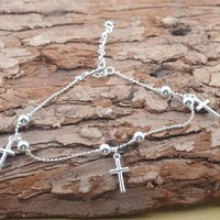 Fashion 925Sterling Silver Anklet Foot Chain soles Ankle Barefoot Bracelet = 5658260289
