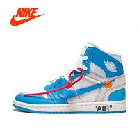 Original New Arrival Authentic NIKE Air Jordan 1 X Off-White Men's Basketball Shoes Sport Sneakers AJ1 Good Quality AQ0818-148