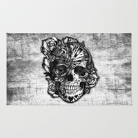 Sugar and Spice grunge candy skull. Area & Throw Rug by Kristy Patterson Design