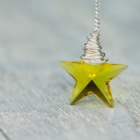 Crystal Star Necklace, 20mm Small Yellow Star Swarovski Necklace, Wire Wrapped Necklace, Autumn Winter Christmas Jewelry, Sterling Silver