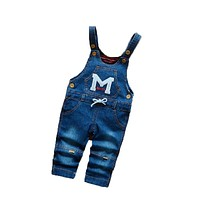 Spring Autumn Baby Boys Girls Cartoon Bib Pants Infant Children Denim Overall Trousers Toddler Jumpsuits Pants Clothes