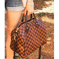 Lv Handbag Shoulder bag luggage Boston bag Women Men Bag Coffee tartan
