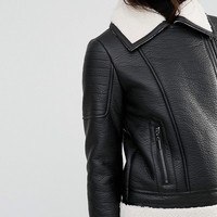 Glamorous Tall Faux Shearling Jacket With Leather Look Trim Detail at asos.com