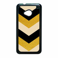 Chevron Classy Black And Gold Printed HTC One M7 Case