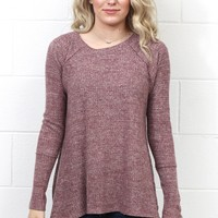 Thermal Sweater Hi-Lo L/S Top {Burgundy}
