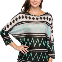 Chevron print dolman sleeves top