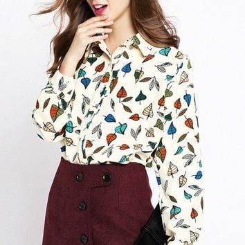 Tops - Autumn Dreams Leaf Print Blouse
