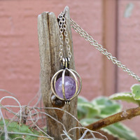 Amethyst Necklace - Crystal Ball Jewelry - Wiccan Necklace - Natural Amethyst Sphere - Purple Stone Jewelry Bohemian Necklace - Boho Jewelry