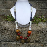 Vinatge Antique African trade bead necklace - ladies vintage tribal art necklace glass beads and coral - vintage tribal jewellery