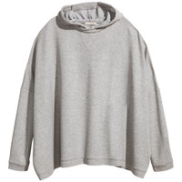 H&M - Oversized Hooded Top - Gray melange - Ladies