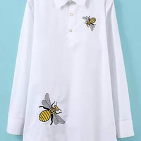 White Shirt Collar Bee Embroidered Long Sleeve Blouse