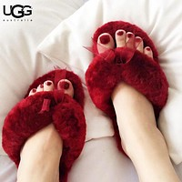 UGG Fashion New Bow Fur Women Slippers Keep Warm Shoes Flip Flop