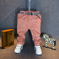 Hot Sale ! 2016 New Spring Fashion baby boy jeans pants ripped jeans for kids Children Boys Casual painting trousers with belt